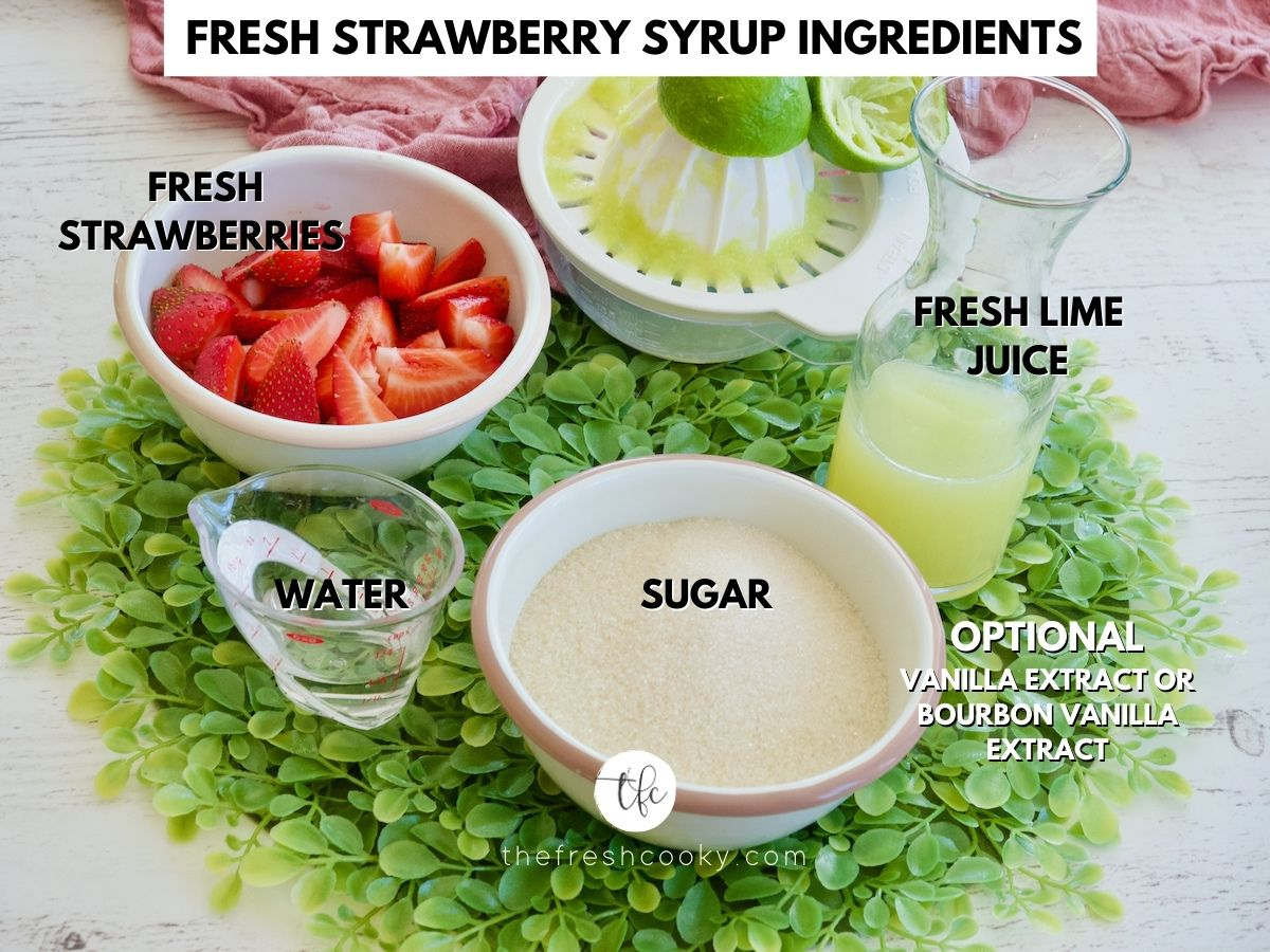 Fresh Strawberry Syrup Ingredients L-R Fresh Strawberries, Lime juice, all-natural cane sugar, water.