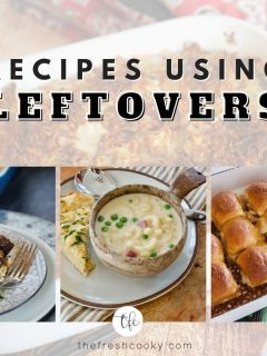 FB image for Recipes using leftovers with images of turkey divan, ham mac and cheese soup and turkey sliders.
