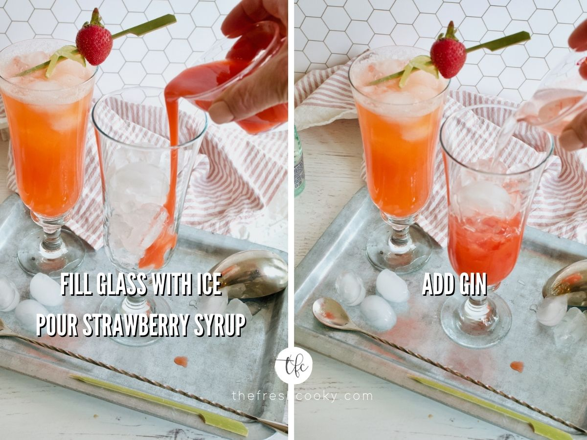 strawberry gin cocktail process shots adding strawberry syrup to tall glassa and second image adding gin to same glass.