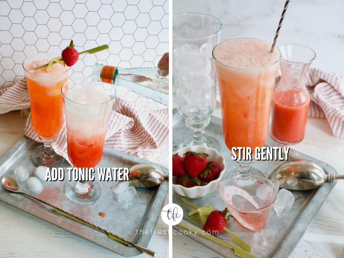 Process shots for strawberry gin cocktail adding tonic water and stirring the pretty pink cocktail.