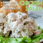 Pin for best tarragon chicken salad with plated portion of chicken salad on top of a bed of lettuce.