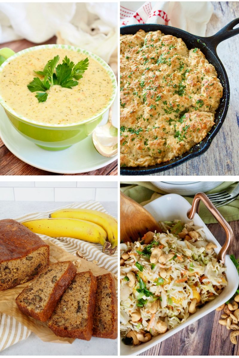 4 Images in a collage L-R Broccoli Cheese Panera Soup, Red Lobster Skillet Bread, Banana Bread, Asian Ramen Noodle Salad.