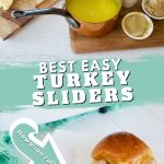 Long pin with ingredients for easy turkey sliders on top and image of two baked turkey sliders on bottom.