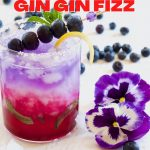 Pin for patriotic cocktail blueberry gin gin fizz with image of pretty red, white and blue layered cocktail.