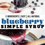 Long pin for blueberry simple syrup, 3 ingredients, all natural and easy, top image of jar of blueberry syrup and bottom image of pouring syrup from pan through sieve.