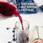 Pin for all natural blueberry simple syrup with how to make and uses for cocktails, pancakes and more, image of pouring simple syrup into mason jar.