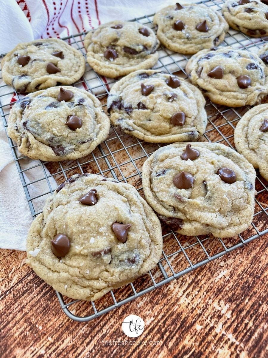Gluten Free Chocolate Chip Cookies cooling on wire rack.