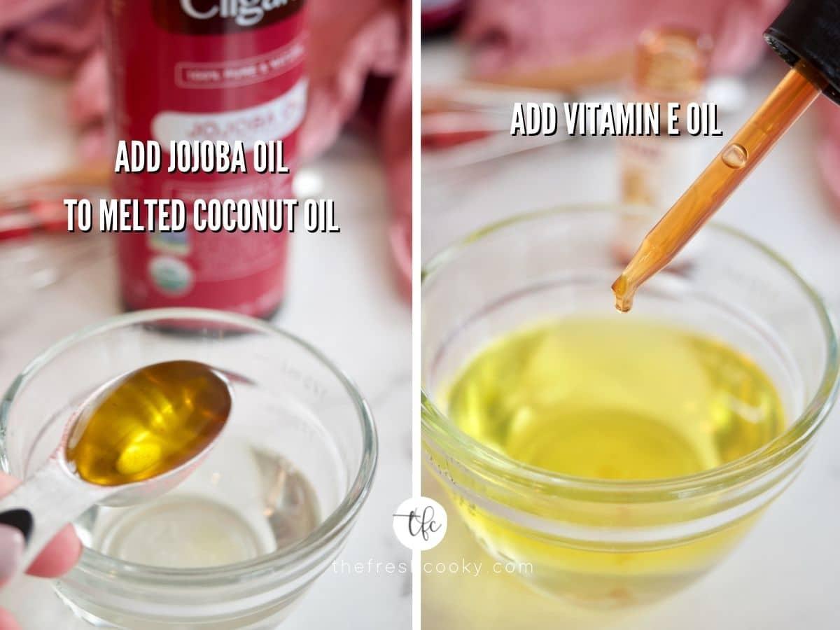 Process shots for DIY Strawberry Lip Scrub adding jojoba oil to coconut oil and secon dimage adding drops of Vitamin E oil to other oils.