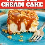 Healtheir Fried Ice Cream Cake with Gluten Free corn flake crust, slice of cake drizzled with caramel.