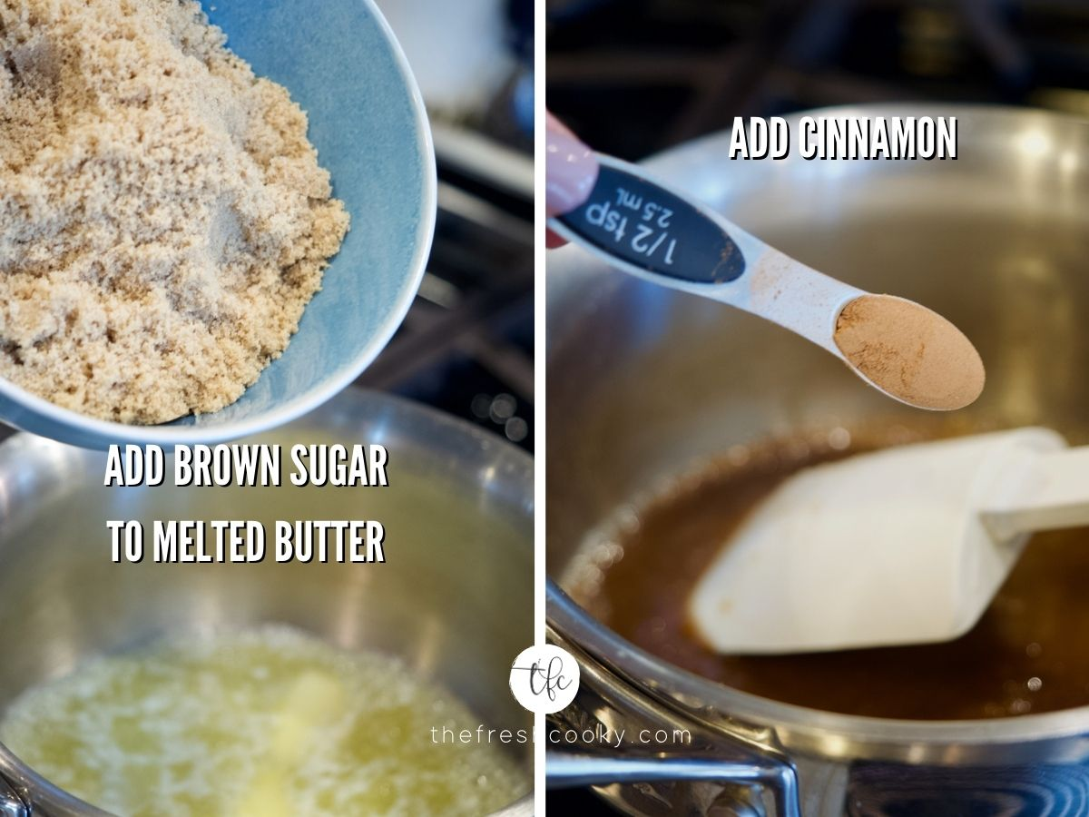 fried ice cream cake process shots adding brown sugar to butter and cinnamon to mixture.