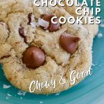 Gluten Free Chocolate Chip cookies pin for chewy and gooey chocolate chip cookies with large cookie on a green plate.