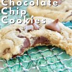 Pin for best soft and chewy gluten free chocolate chip cookies with image of cookie on wire rack with teal napkin beneath and bite taken out of cookie.