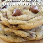 Gluten free chocolate chip cookies with image of three soft, wrinkly cookies stacked on top of each other.