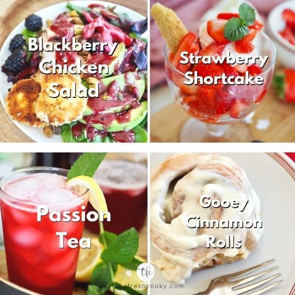 Mother's day brunch menu #4 with blackberry chicken salad, strawberry shortcake, passion tea and gooey cinnamon rolls.