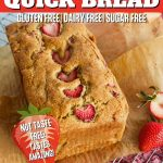 Strawberry Quick Bread Pin that shows image of quickbread on wire rack with parchment paper on the side.