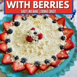4th of July Lemon Pie with Berries with strawberries and blueberries.