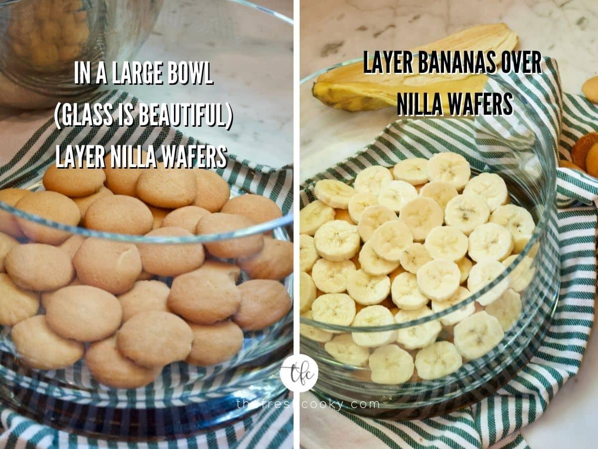 process shot for layering banana pudding, 1. layer of nilla wafers and 2) layer of sliced bananas.