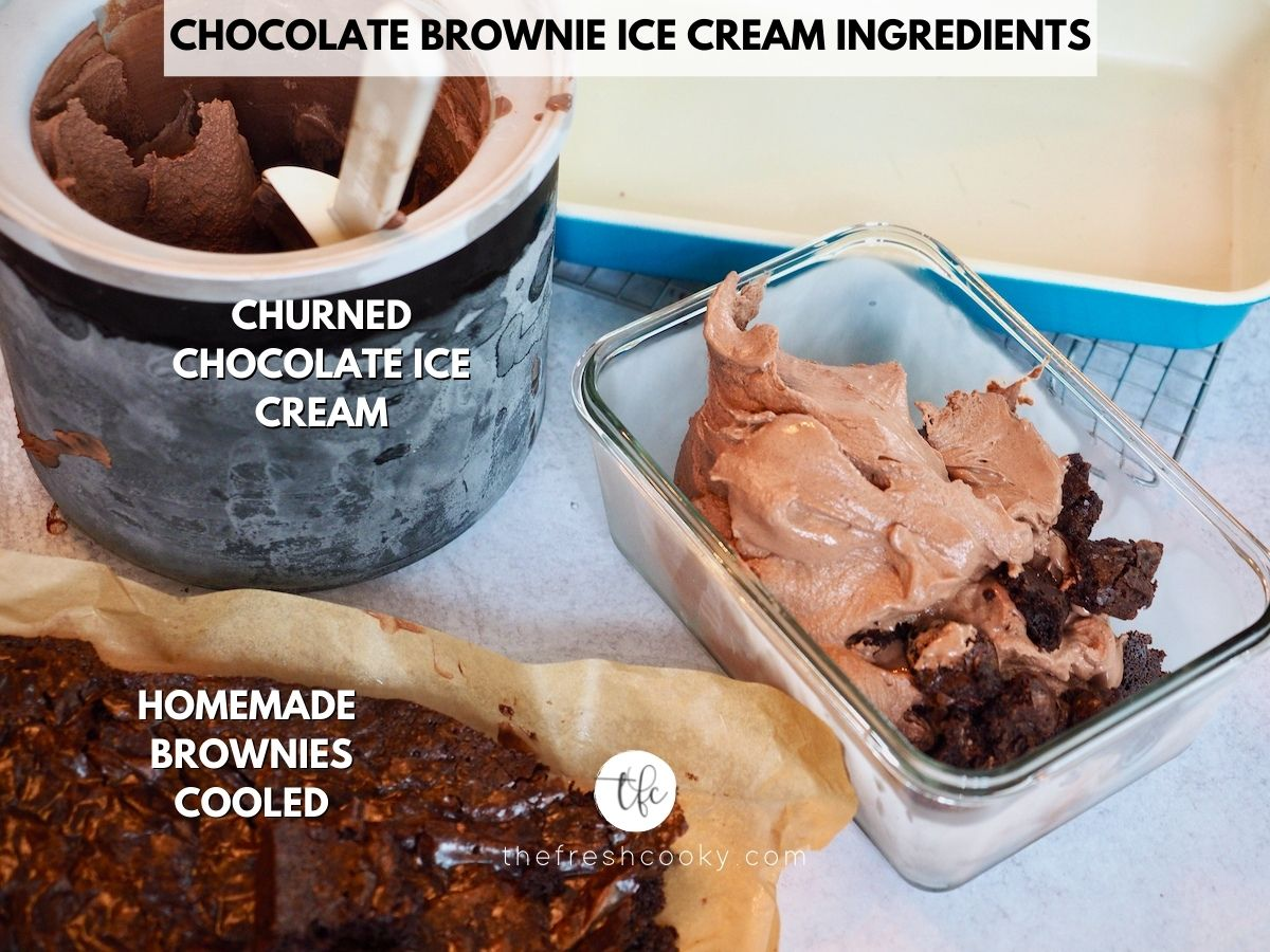 Chocolate Brownie Ice Cream Ingredients, L-R churned chocolate ice cream, glass freezer container with soft chocolate ice cream and brownie pieces, with brownies nearby.