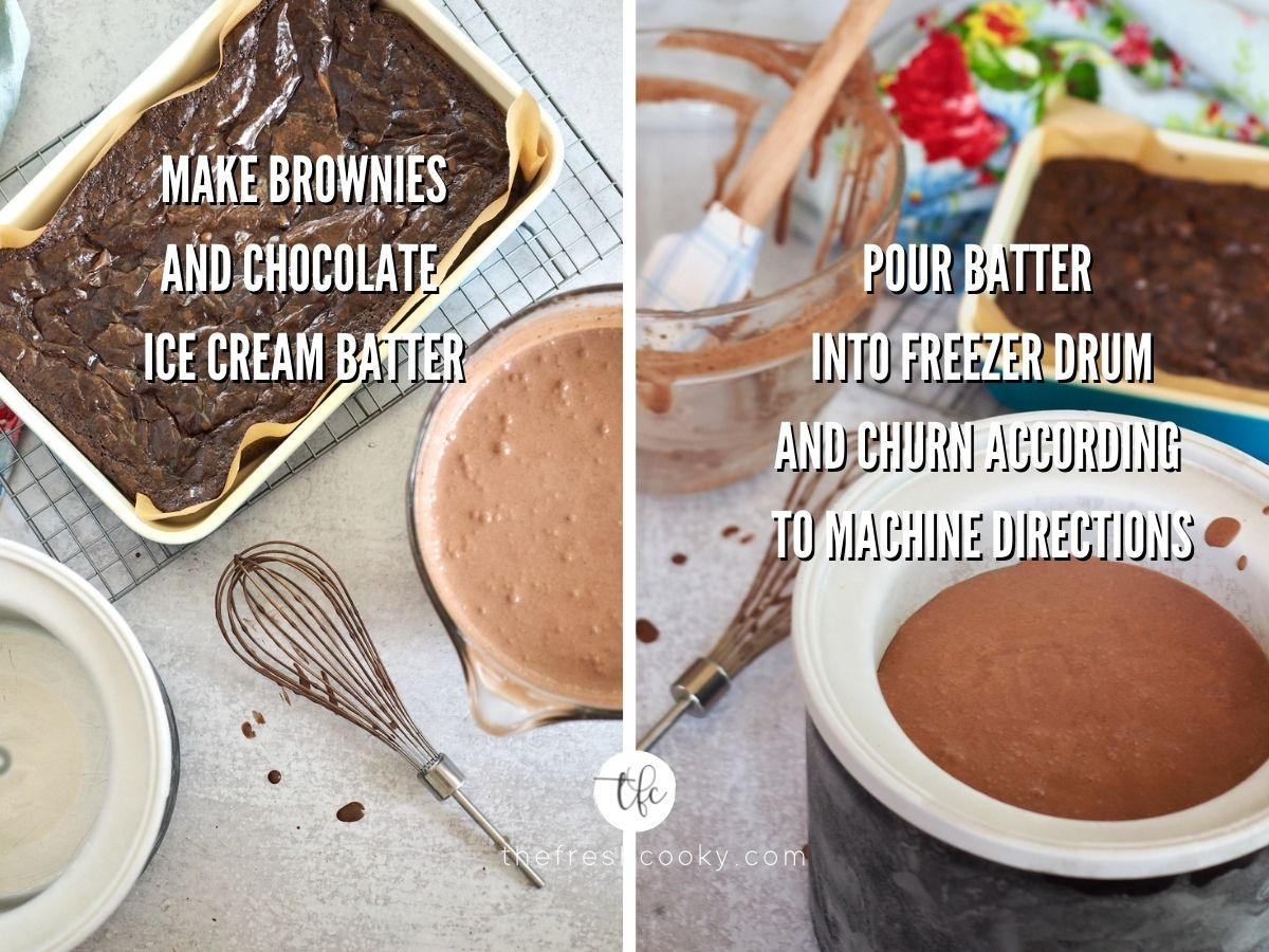 Process shot for chocolate brownie ice cream 1) baked brownies and ice cream batter ready 2) Ice cream in freezer drum for churning with brownies behind.