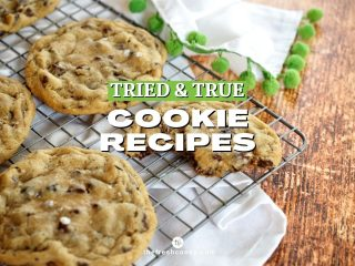 Facebook Image for Tried and True Cookie Recipes with image of chocolate chip cookies on cooling rack.