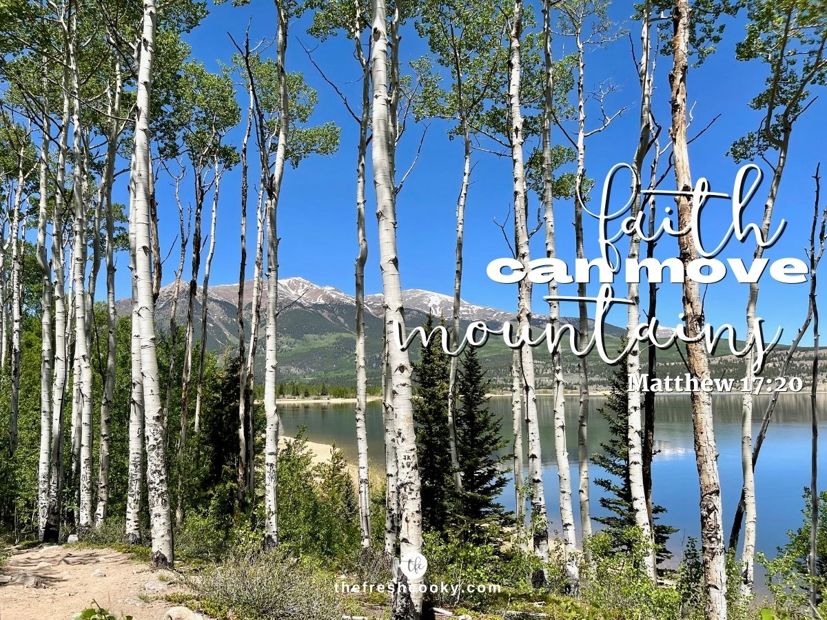 Image of aspen trees a lake and mountains in the background with words faith can move mountains!