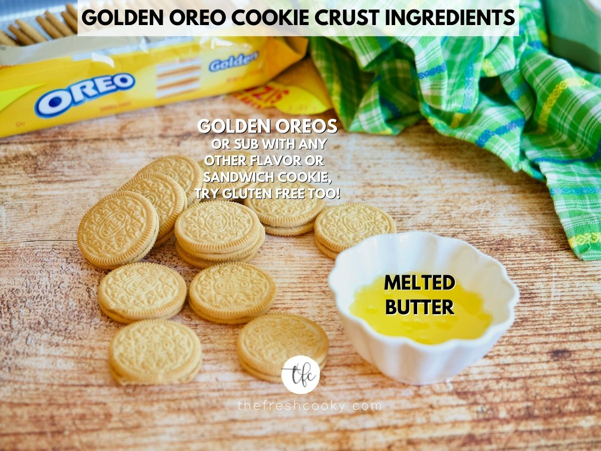Ingredient image for Oreo Cookie Crust with Golden Oreo cookies on table with melted butter nearby.