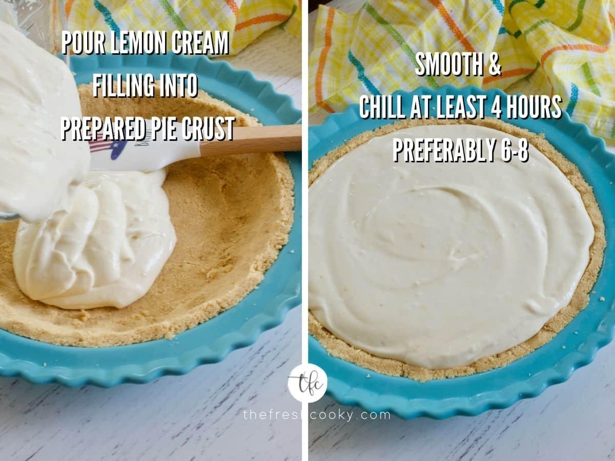 Process shots for lemon cream pie pouring lemon cream filling into cookie crust, second image smoothed cream filling in pie crust.