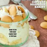 Rich and Creamy Easy Banana Pudding Recipe with image of jar of banana pudding with mini Nilla wafers laying beside.