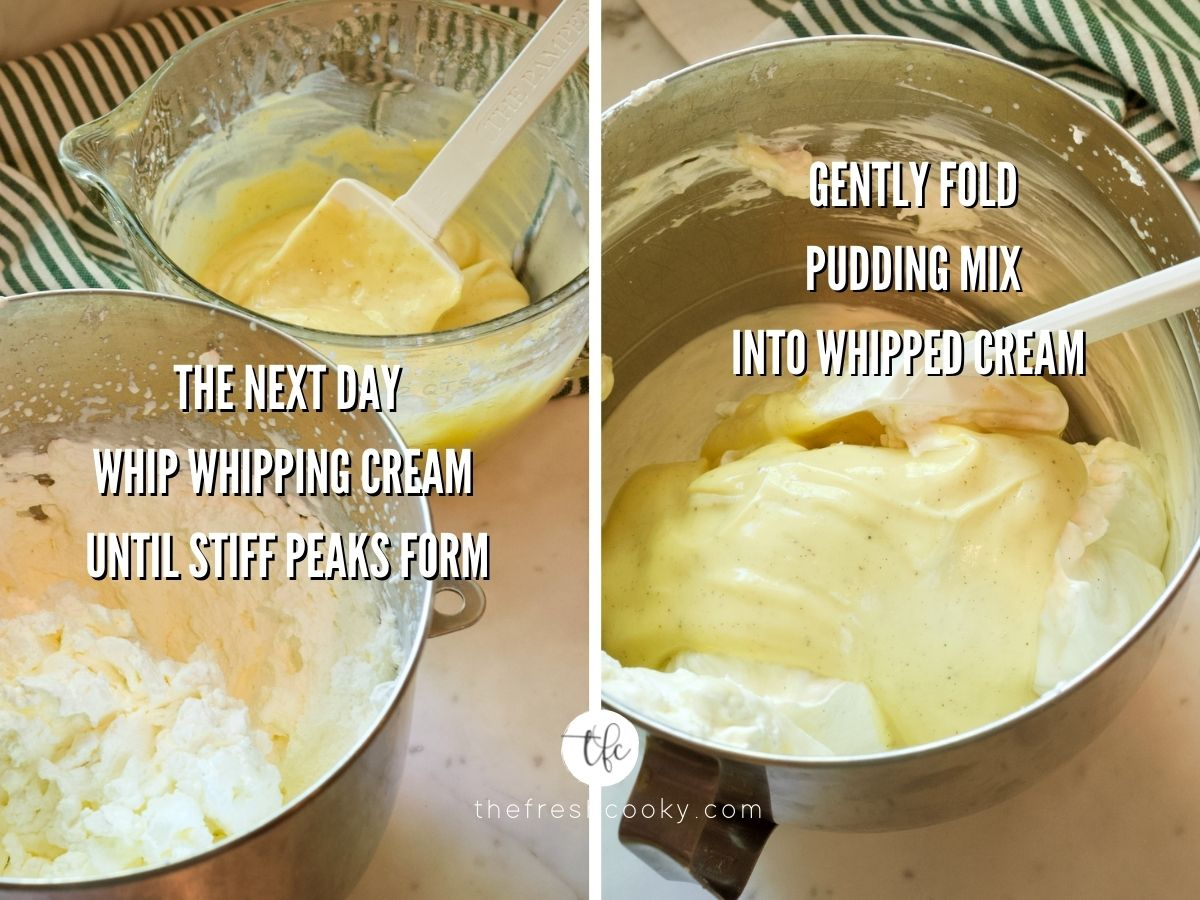 banana pudding process shots L picture of vanilla pudding mixture and whipped cream until stiff peaks form, second image gently folding vanilla pudding into whipped cream mixture.
