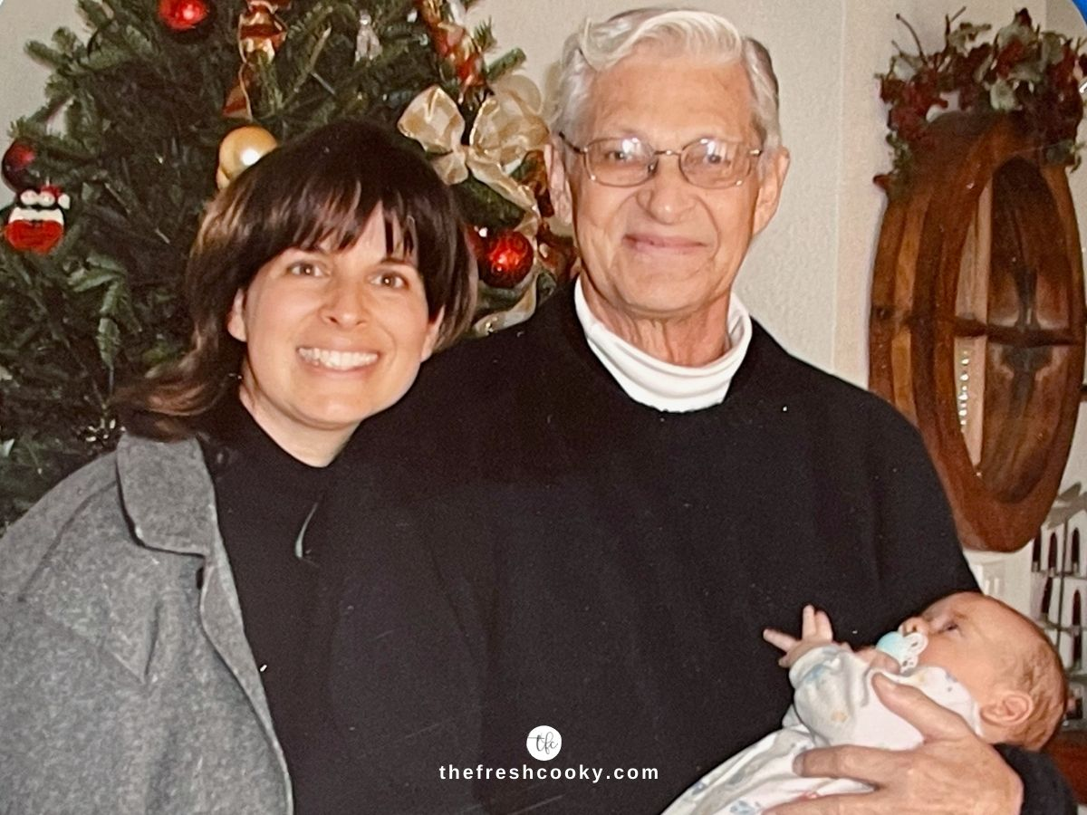 Kathleen (The Fresh Cooky) with her dad and infant son circa 2003.