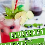 Blueberry Limeade or Lemonade pin with image of tall glass of blueberry limeade with ingredients blueberry syrup and limeade in background.