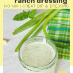 Pin for easy buttermilk ranch dressing with image of jelly jar filled with ranch dressing and green onions behind.