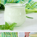 Long pin for the best homemade buttermilk ranch dressing with three images, main image of jar of creamy ranch dressing, second image of food processor with ingredients and last image of hand dipping corn fritter in ranch dressing.