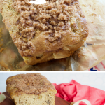 Easy Rhubarb Bread with cinnamon streusel topping, long pin with two images of bread one before slicing and the other after slicing.