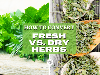 Facebook Split image with fresh vs. dry herbs and how to use them.
