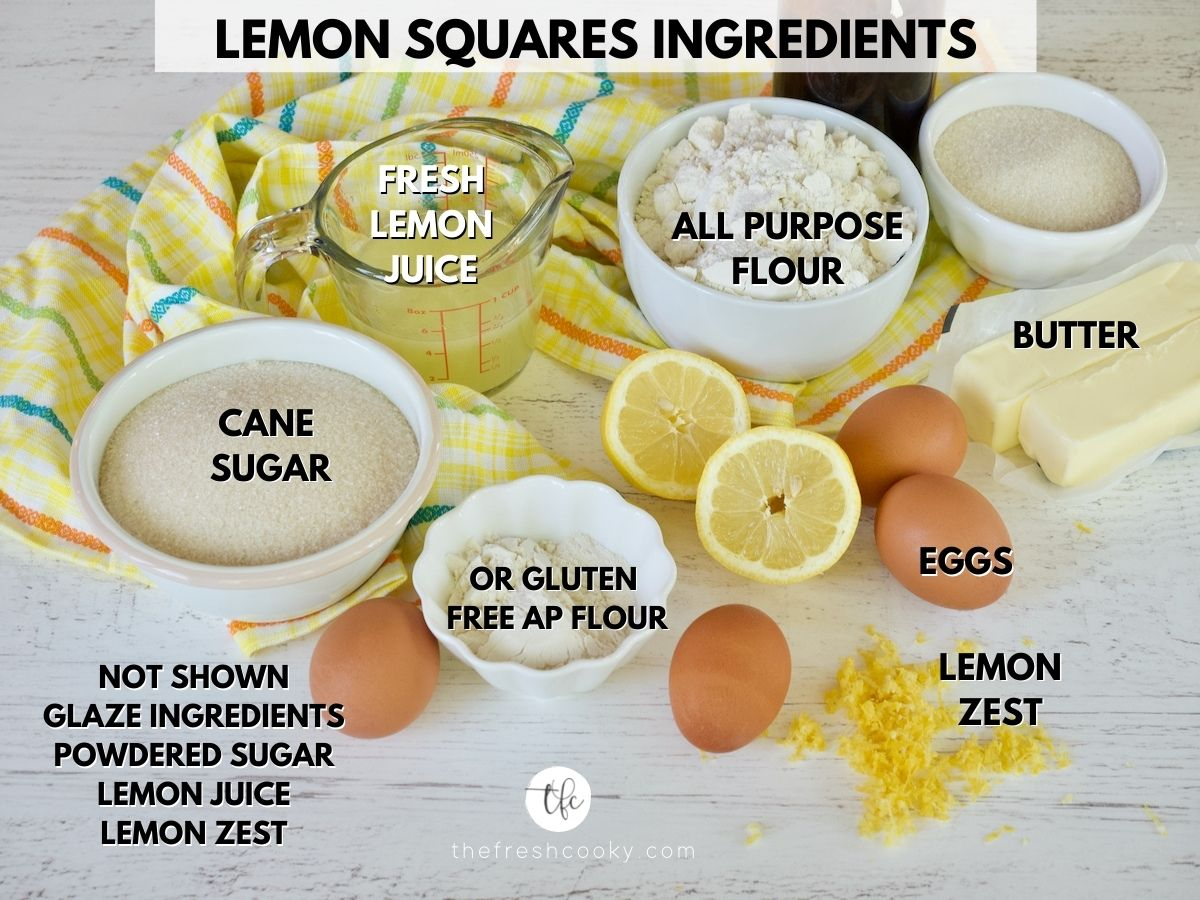 Ingredients for Old Fashioned Lemon Squares Recipe L-R Cane sugar, fresh lemon juice, ap flour, butter, lemon zest, eggs, powdered sugar.