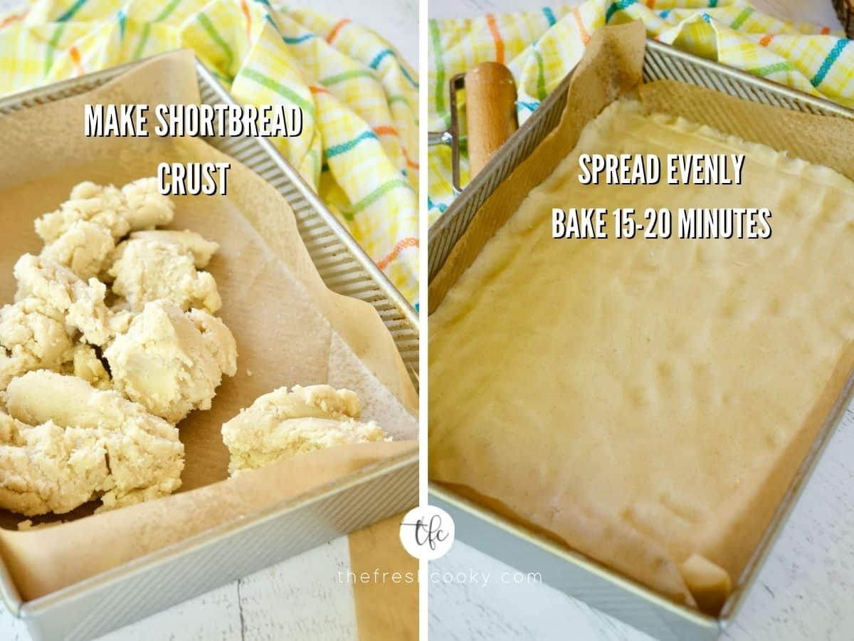 Lemon Squares shortbread crust process shots, shortbread batter in prepared pan, second image of shortbread batter pressed evenly into 9x13 in pan.