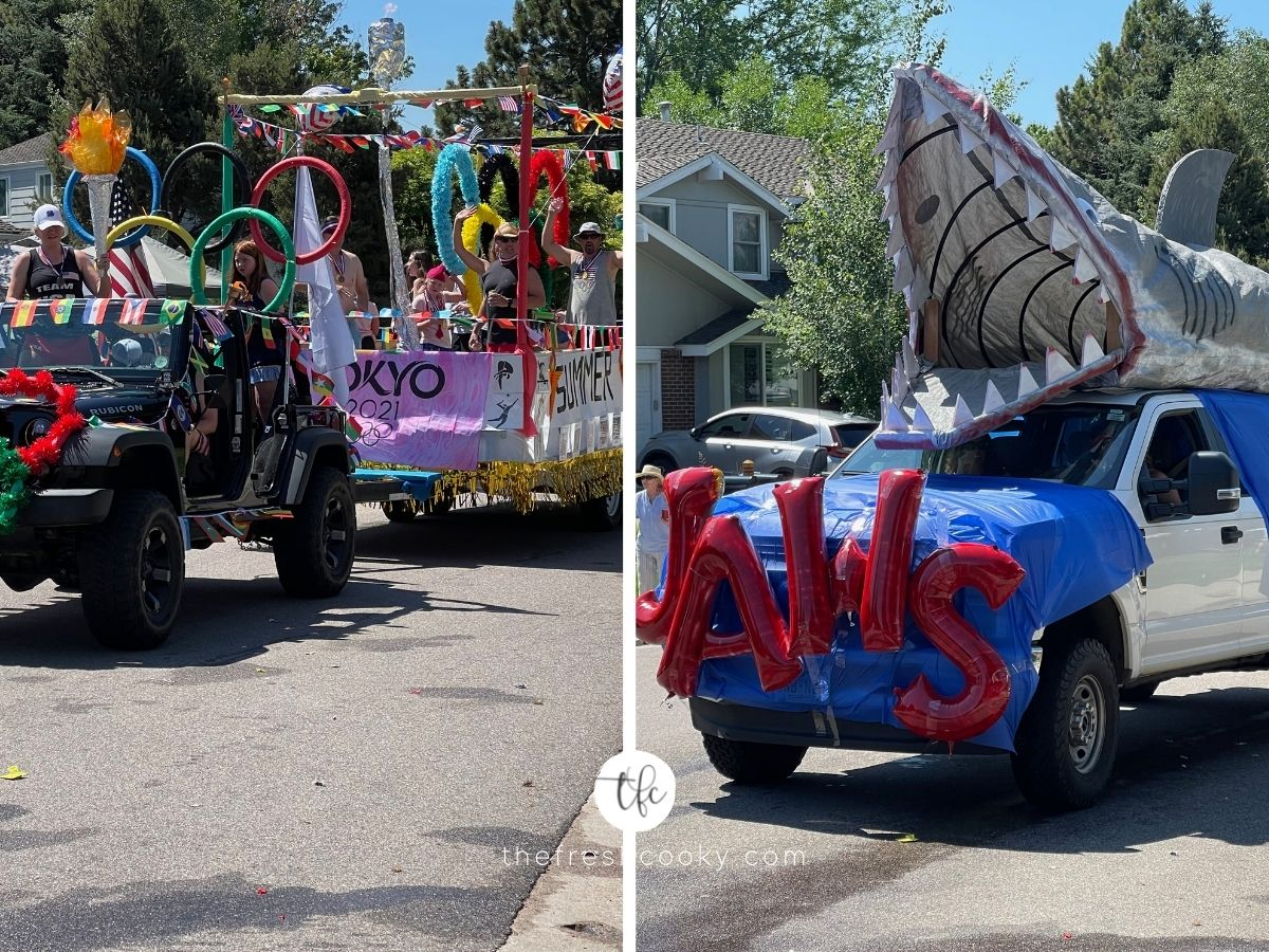 Parade Floats for 4th of July, one of Olympics Float for Japan games, second image of JAWS with large shark on top of a truck.