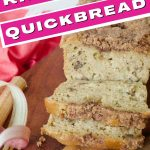 Rhubarb Quick bread with image of sliced loaf of rhubarb bread on a cutting board with ribbons of rhubarb around it.