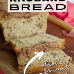 Easy Rhubarb Bread Pin with image of loaf of rhubarb bread on cutting board with a couple of slices.