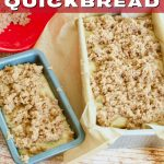 Rhubarb bread before baking, with two images of large loaf pan and mini loaf pan, great easy rhubarb bread.