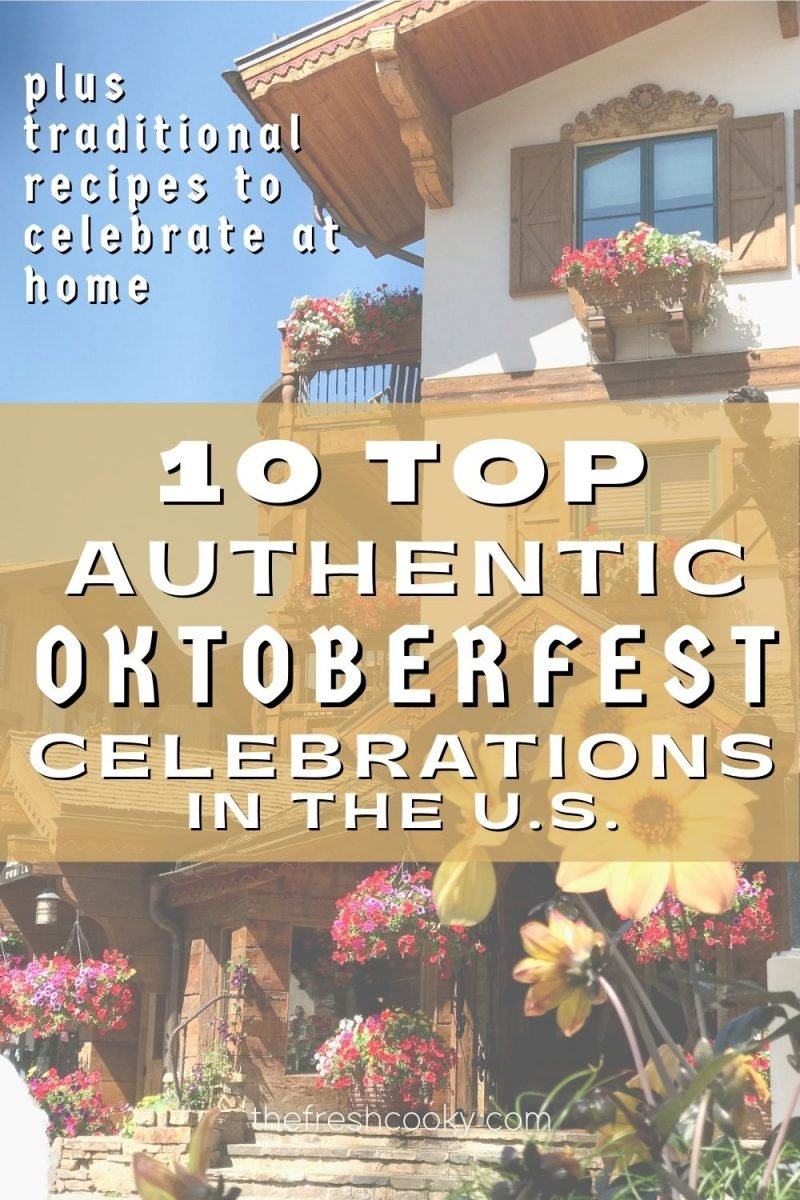 Pin for top 10 authentic Oktoberfest Celebrations in the US with image of quaint European style village in Vail, CO.