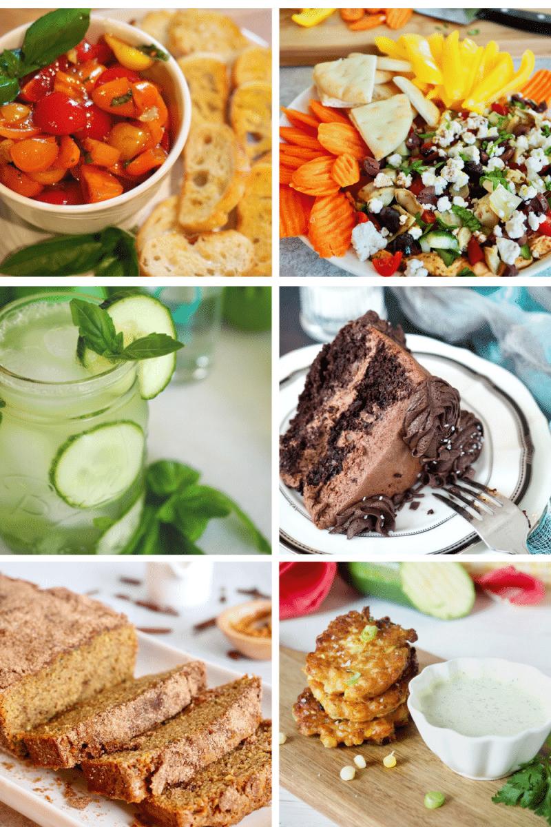 Grid pin with images of recipes using garden fresh produce L-R Bruschetta, Mediterranean Dip, Cucumber Basil Smash, Zucchini Chocolate Cake, Snickerdoole Zucchini Bread, Zucchini and Corn Fritters.