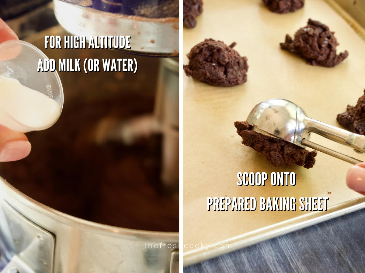 Process shots for Triple Chocolate Cookies, adding milk for high altitude and scooping cookie dough onto parchment lined cookie sheet.