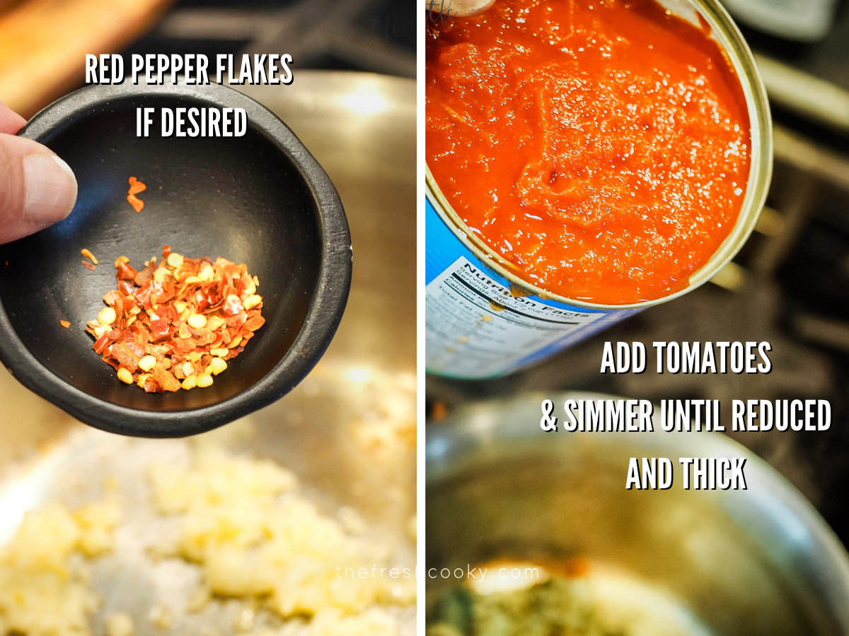 Adding red pepper flakes and crushed tomatoes to the saucepan for best pizza sauce.