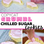 Long pin for Copycat Crumbl Sugar Cookies with three images top image of frosted sugar cookie with wedge removed, bottom images of closeups of pink frosted sugar cookies.