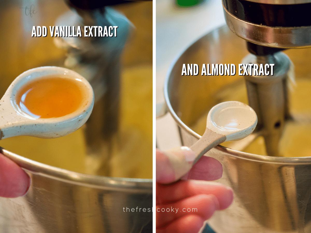 Adding vanilla extract to crumbl sugar cookie batter and adding almond extract to cookie batter.