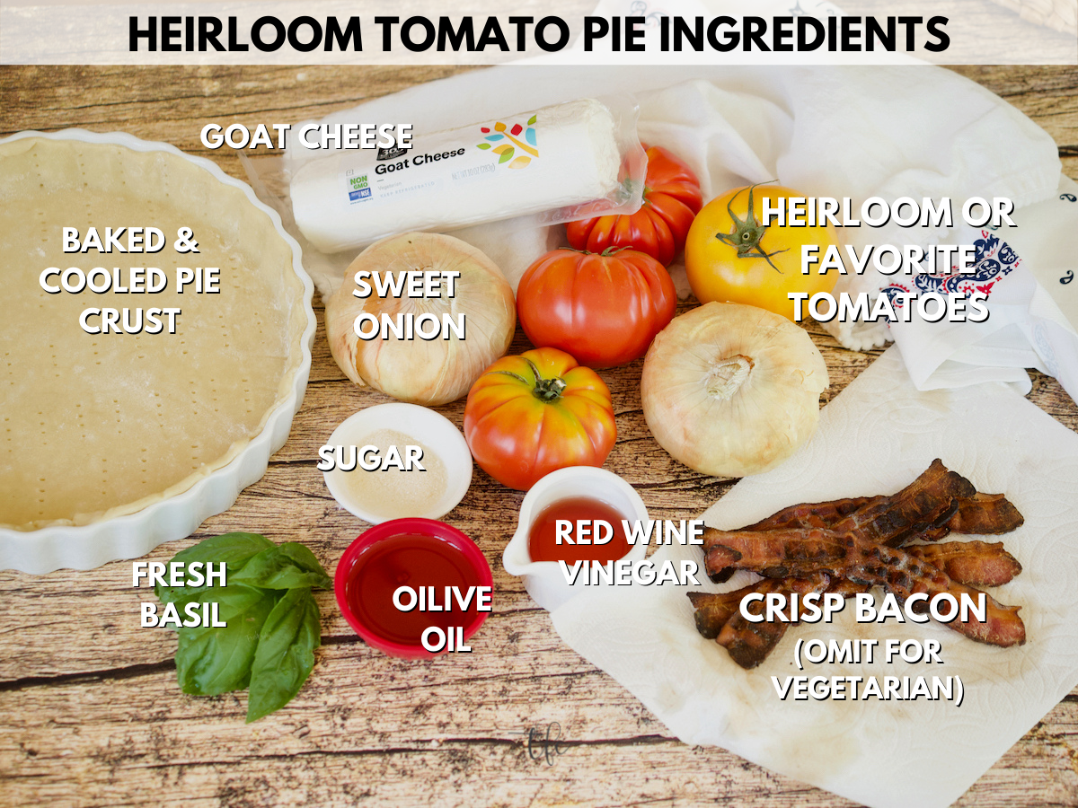 heirloom tomato pie ingredients, L-R pie shell, goat cheese, heirloom tomatoes, sweet onions, bacon, red wine vinegar, sugar, fresh basil and olive oil.