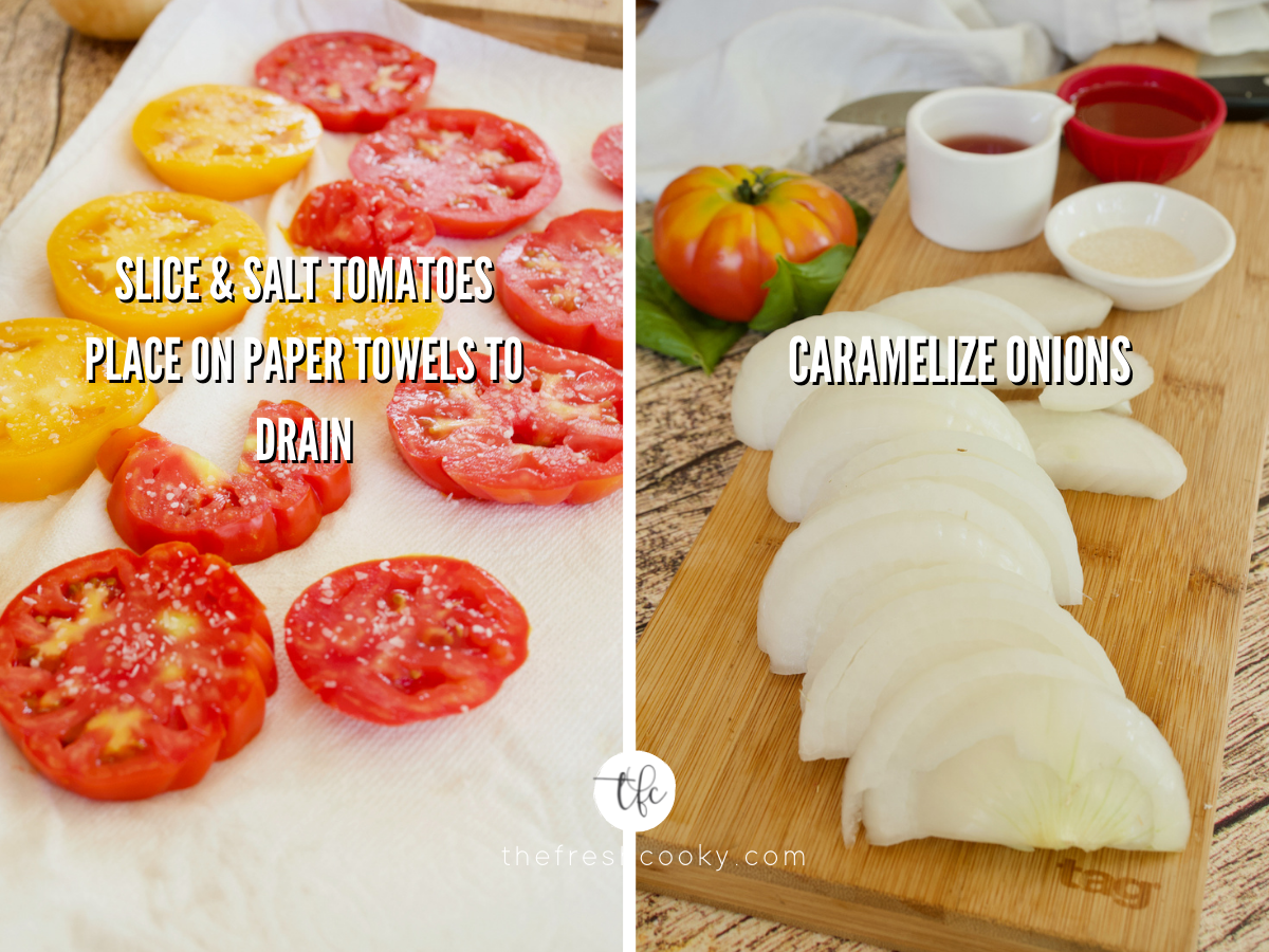Process shots for Heirloom Tomato Pie with sliced tomatoes salted and draining on paper towels, second image of sliced onions and ingredients for caramelized onions on cutting board.