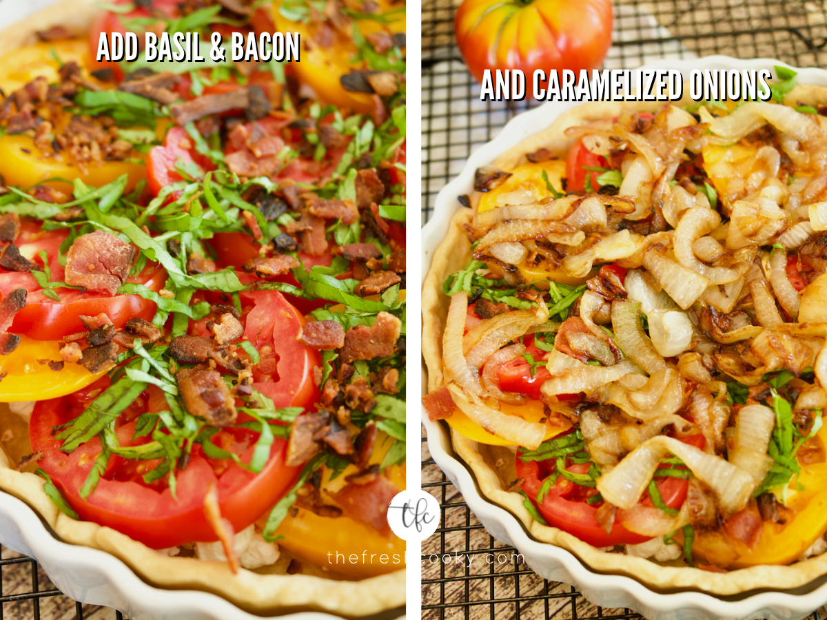 Process shots for heirloom tomato pie 1) fresh basil and bacon sprinkled on tomatoes 2) caramelized onions sprinkled on top of pie.
